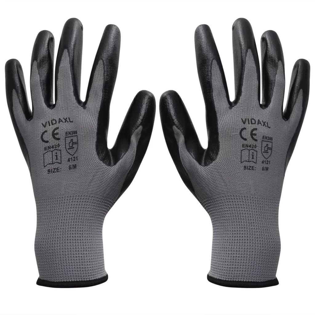 vidaXL Mănuși lucru din nitril, 24 perechi, mărime 8/M, gri și negru
