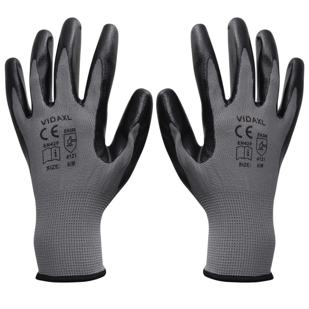 vidaXL Mănuși lucru din nitril, 24 perechi, mărime 9/L, Gri și negru