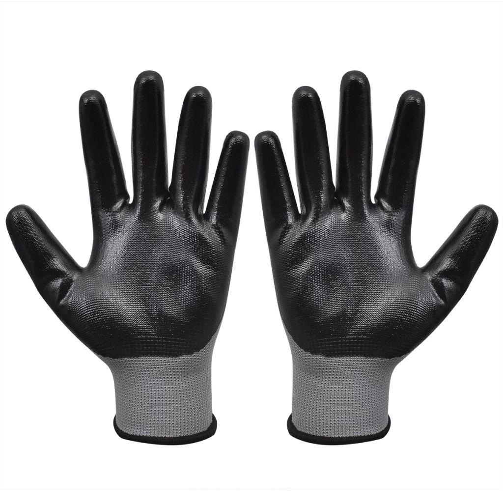 Mănuși lucru din nitril, 24 perechi, mărime 9/L, Gri și negru