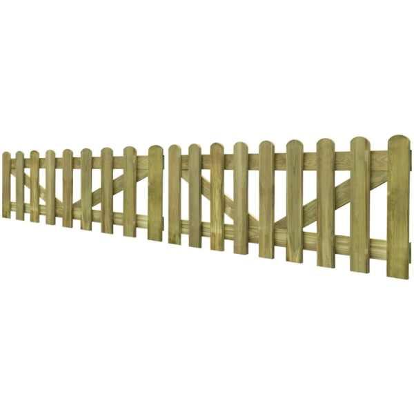 vidaXL Poartă de gard cu scânduri, 2 buc., 300 x 60 cm, lemn tratat