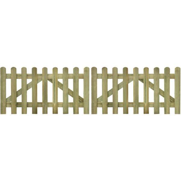 vidaXL Poartă de gard cu scânduri, 2 buc., 300 x 80 cm, lemn tratat