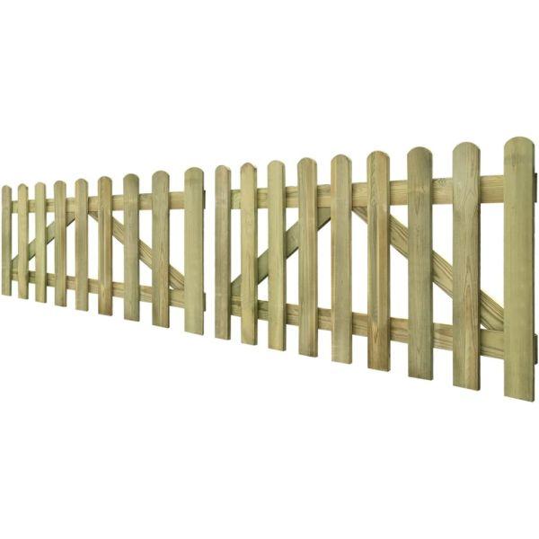 Poartă de gard cu scânduri, 2 buc., 300 x 80 cm, lemn tratat
