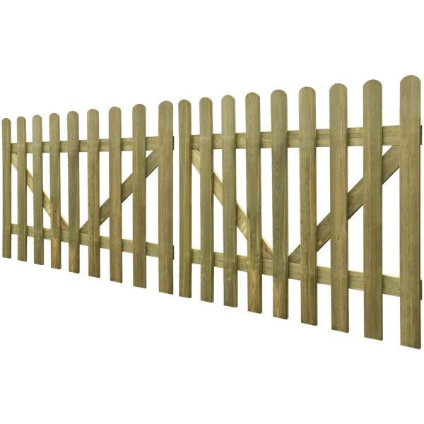 vidaXL Poartă de gard cu scânduri, 2 buc., 300 x 120 cm, lemn tratat