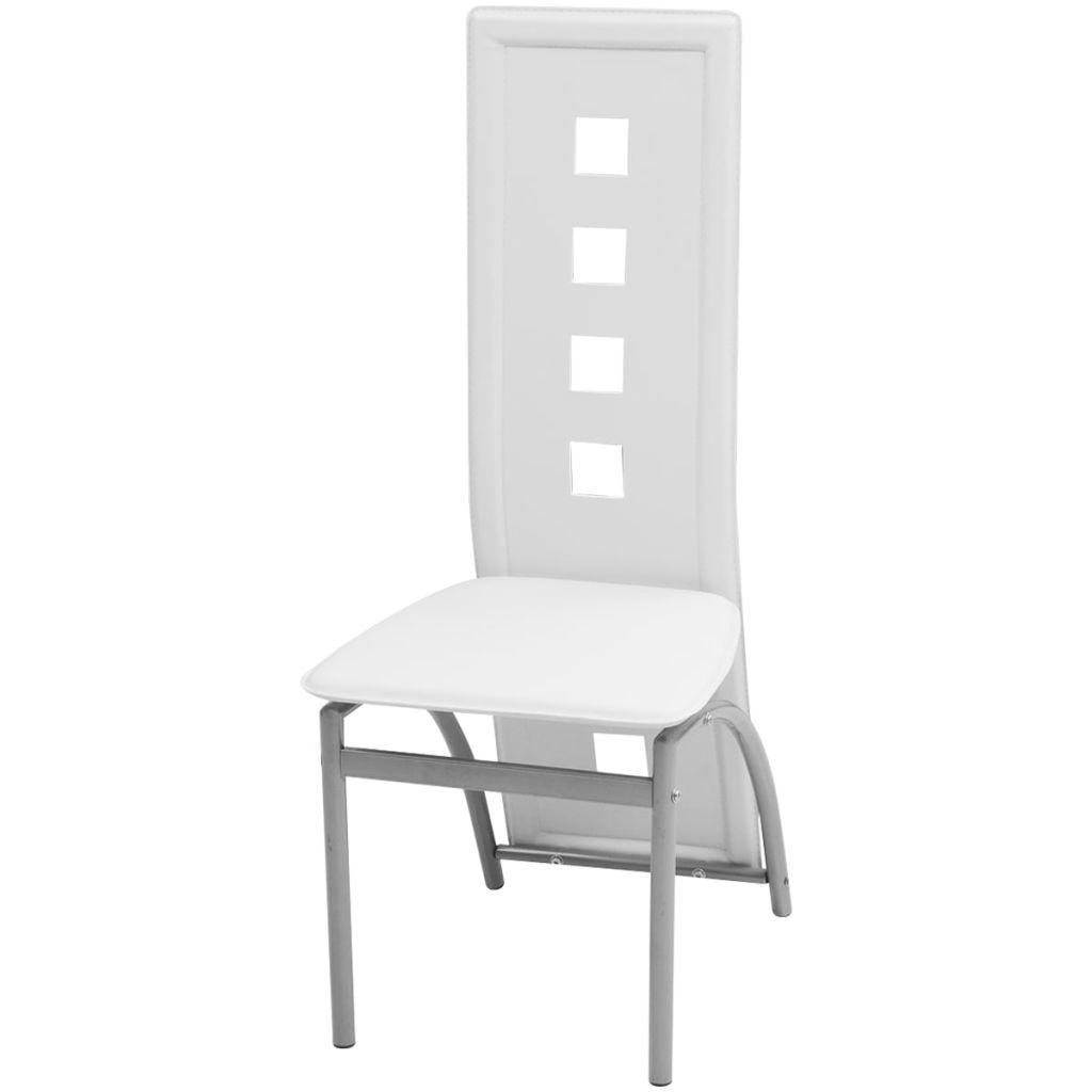 Set masă și scaune de bucătărie 7 piese, Alb