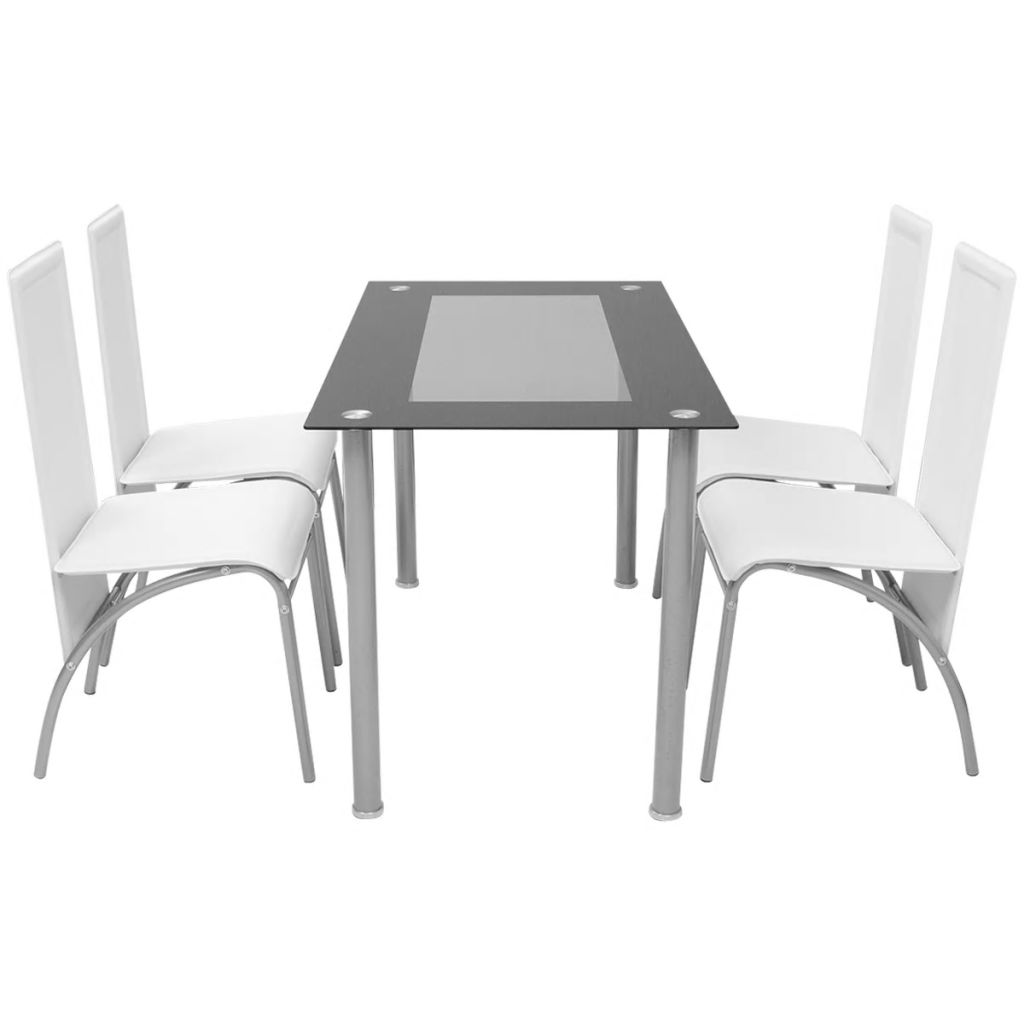 Set masă cu scaune, 5 piese, Alb