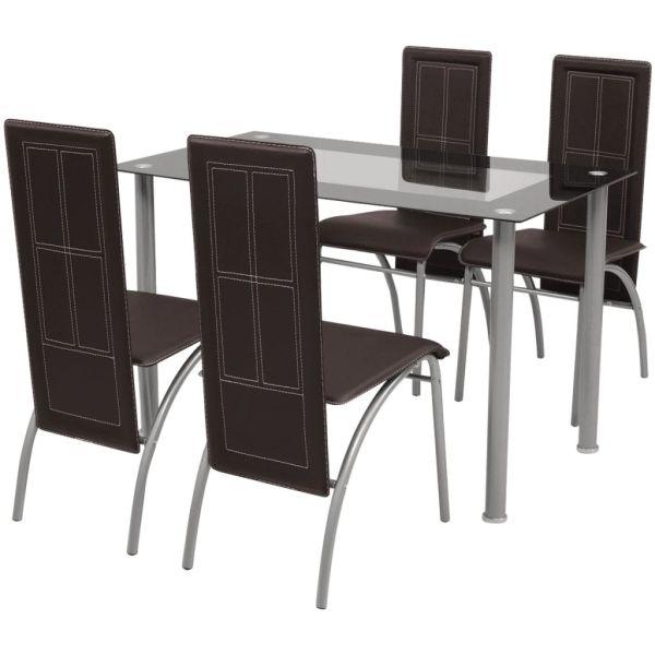 vidaXL Set masă și scaune de bucătărie 5 piese, Maro