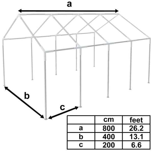 Cadru pentru marchiză, 8 x 4 m, oțel