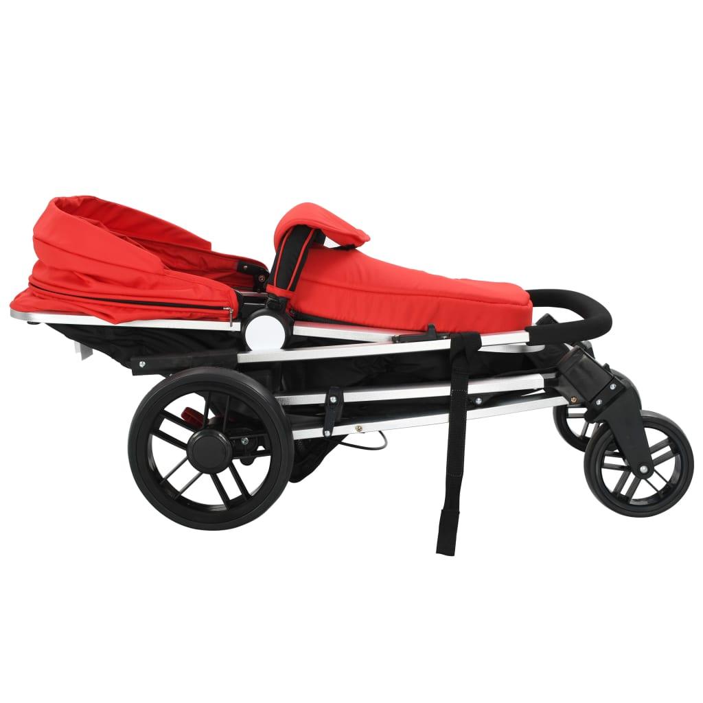 vidaXL Cărucior/landou pentru copii 2-în-1, roșu și negru, aluminiu