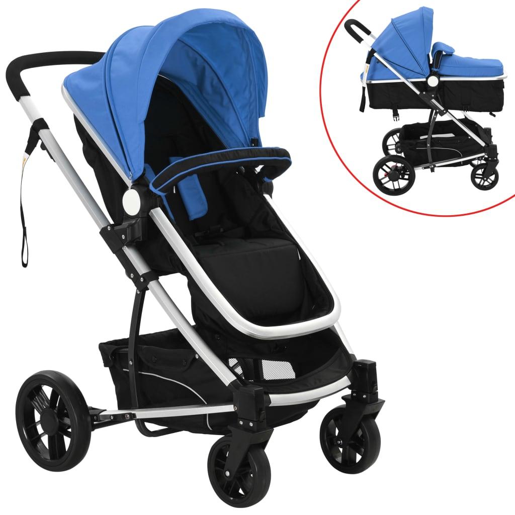 vidaXL Cărucior/landou pentru copii 2-în-1 albastru și negru aluminiu