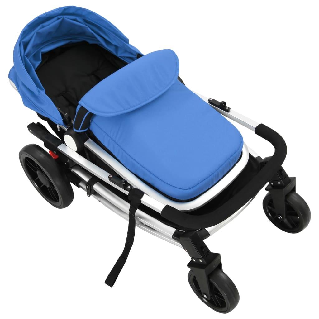 Cărucior/landou pentru copii 2-în-1 albastru și negru aluminiu