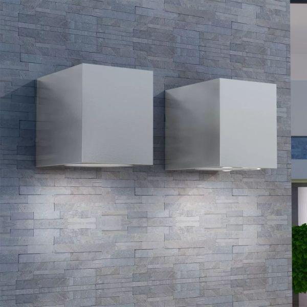 vidaXL Corpuri de iluminat tip cub pentru perete exterior, 2 buc.