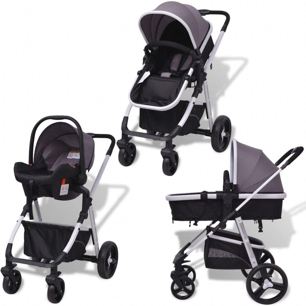 vidaXL Cărucior pentru copii 3-în-1, gri și negru, aluminiu