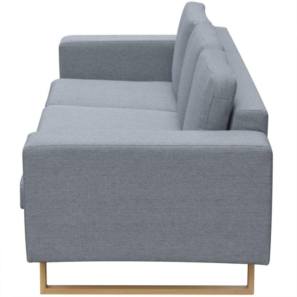 vidaXL Canapea textilă pentru 3 persoane, Gri deschis