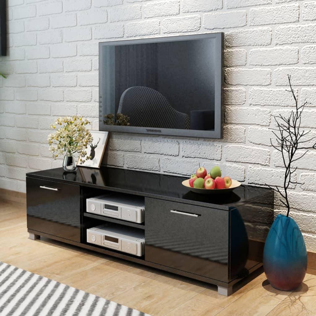 vidaXL Comodă TV, negru extralucios, 120 x 40,3 x 34,7 cm
