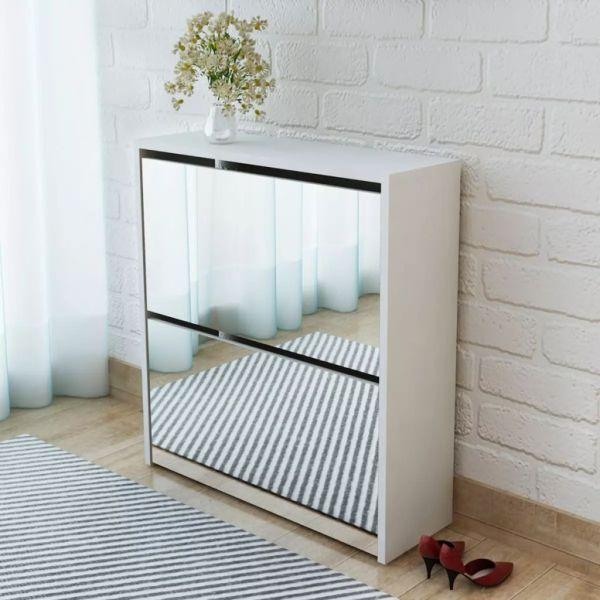 vidaXL Pantofar cu oglindă și 2 niveluri, alb, 63 x 17 x 67 cm