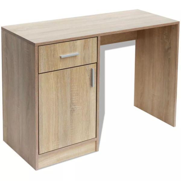 Birou cu sertar și dulap, 100 x 40 x 73 cm, culoare stejar