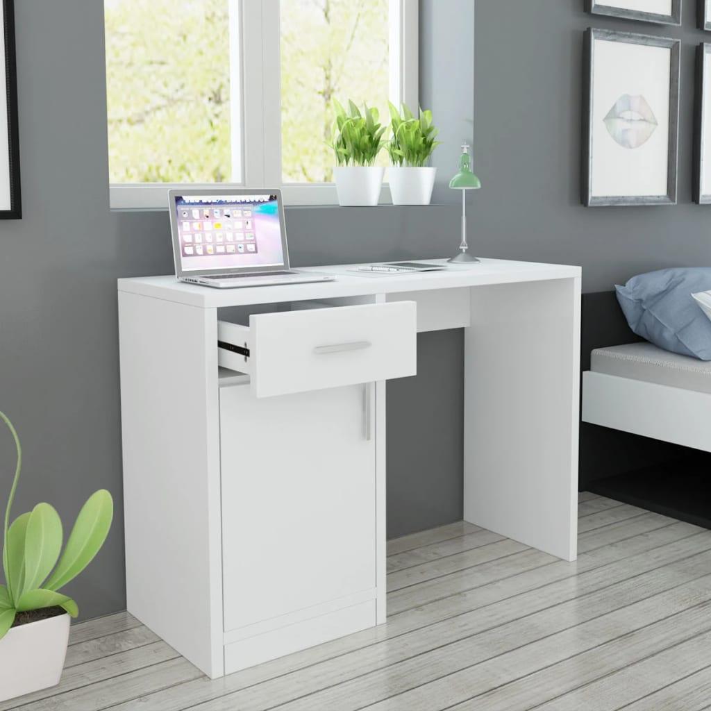 vidaXL Birou cu sertar și dulap, 100 x 40 x 73 cm, alb