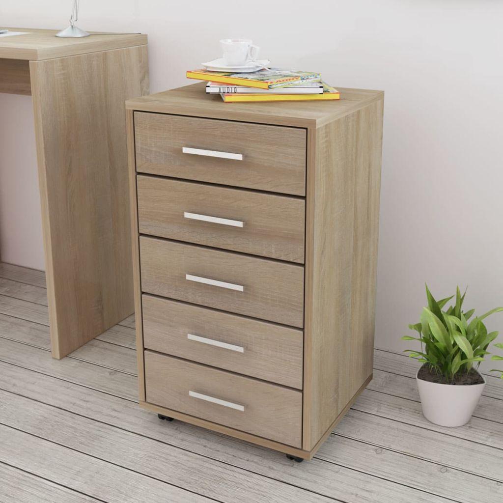 vidaXL Dulap de birou cu rotile și 5 sertare, stejar