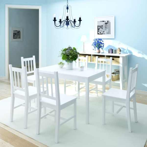vidaXL Set masă și scaune din lemn de pin, 7 piese, alb
