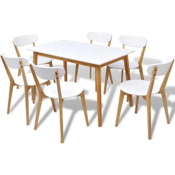 vidaXL Set masă și scaune de bucătărie, MDF și mesteacăn, 7 piese