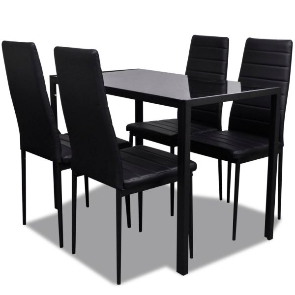 vidaXL Set mobilier de bucătărie, cinci piese, negru