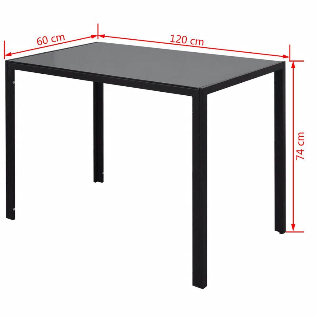 Set masă și scaune de bucătărie 7 piese alb și negru