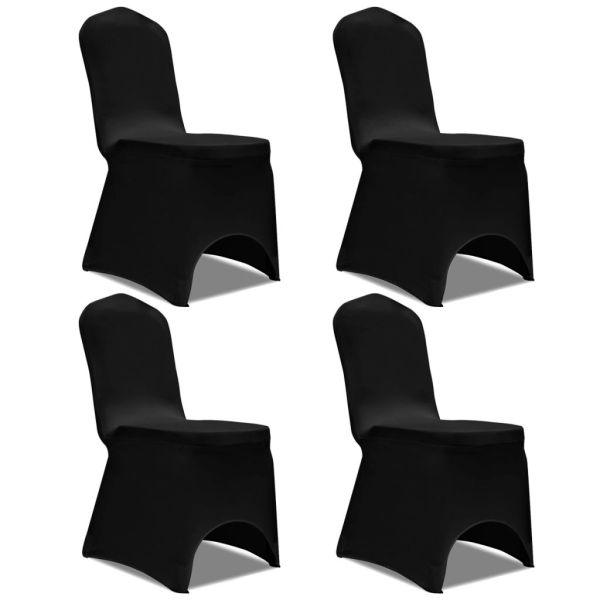 vidaXL Husă elastică pentru scaun, negru, 4 buc.