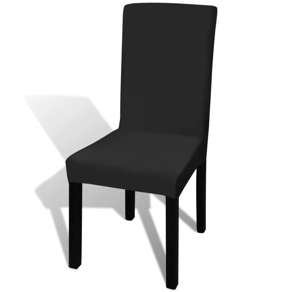 Husă elastică dreaptă pentru scaun, negru, 4 buc.