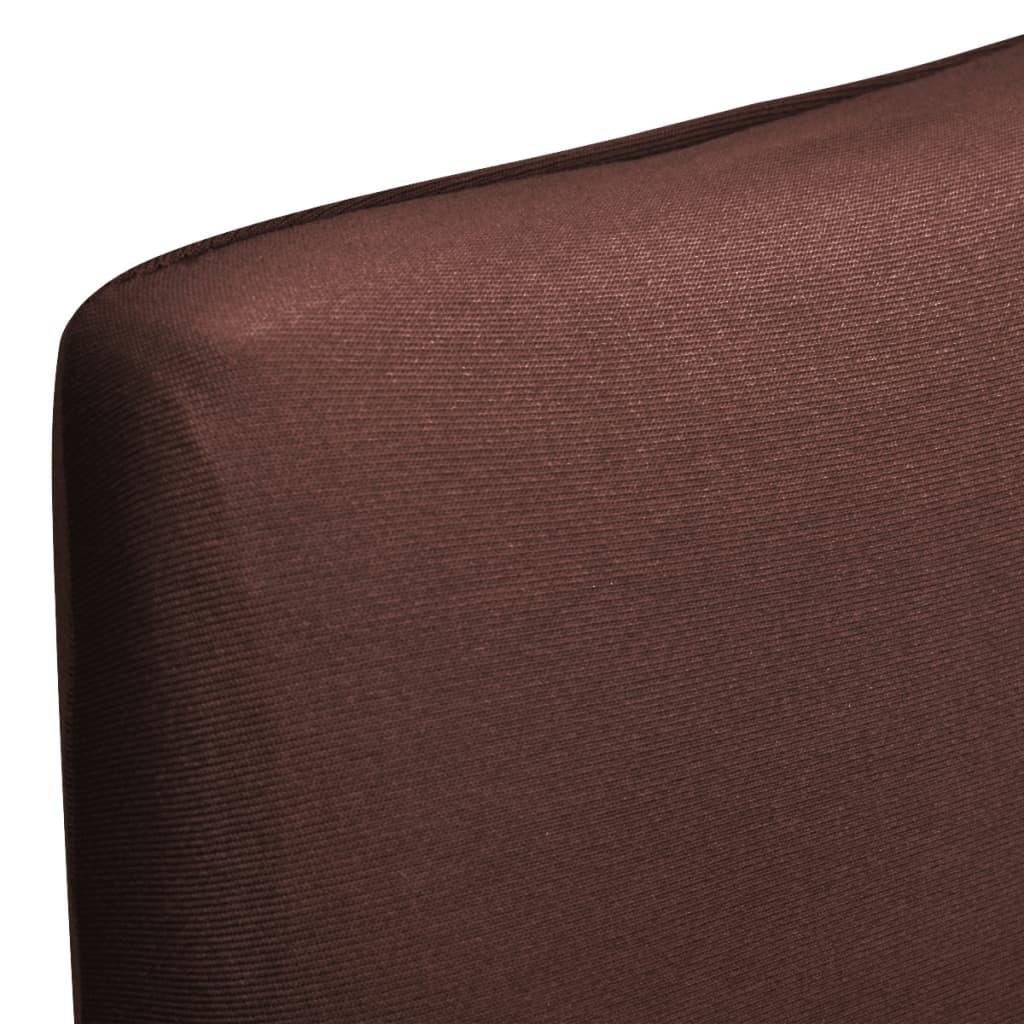 vidaXL Husă elastică dreaptă pentru scaun, maro, 6 buc.