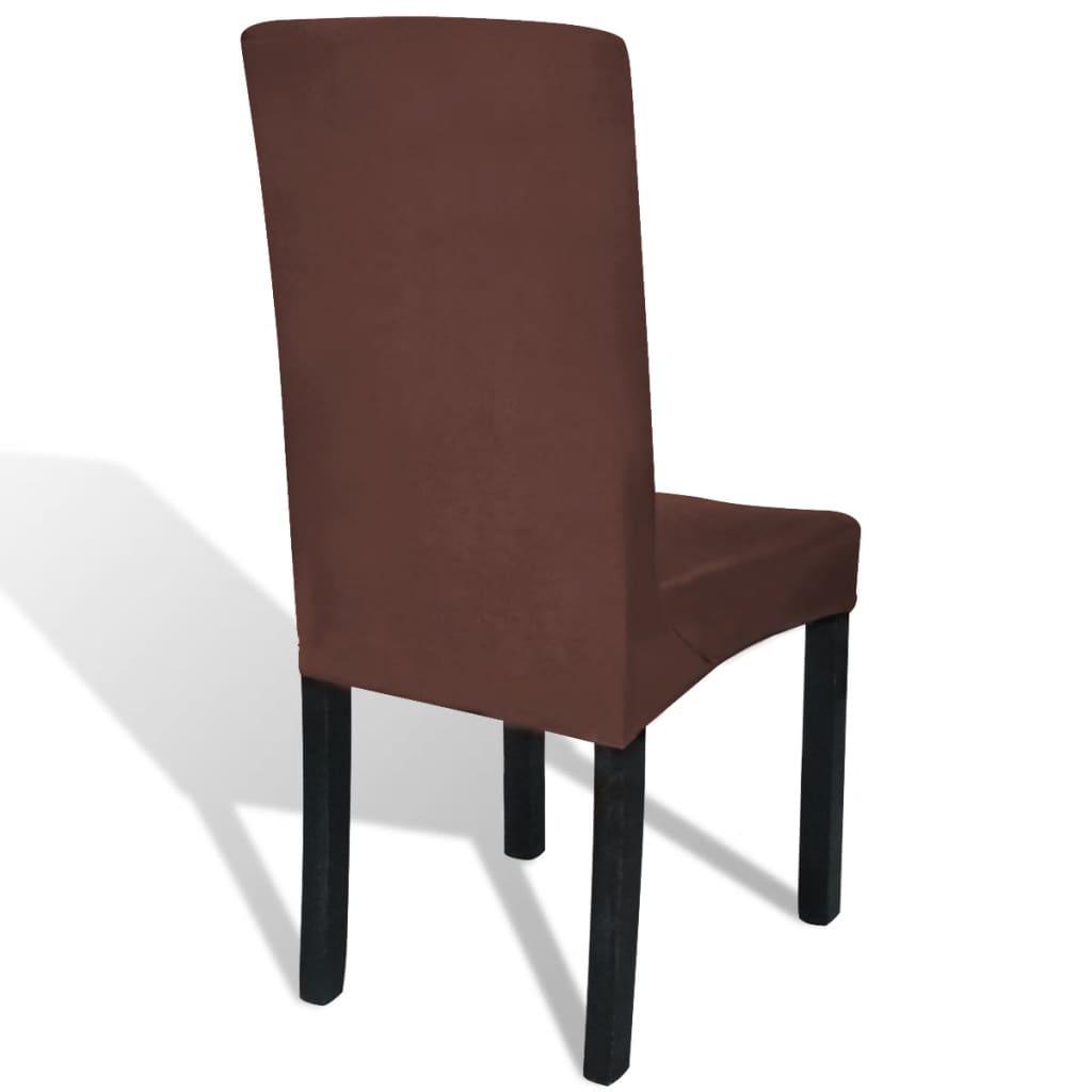 Husă elastică pentru scaun, maro, 4 buc.