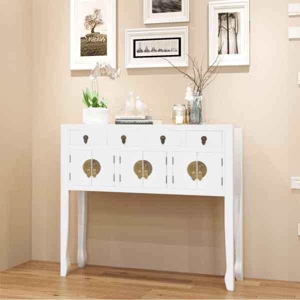 vidaXL Bufet în stil chinezesc din lemn masiv, alb