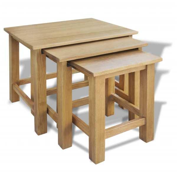 vidaXL Mese suprapuse, 3 buc., lemn masiv de stejar
