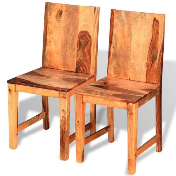 vidaXL Scaune de bucătărie 2 buc, lemn masiv de sheesham