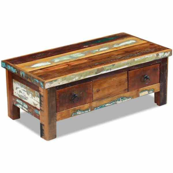 vidaXL Masă de cafea cu sertare, lemn solid reciclat, 90 x 45 x 35 cm