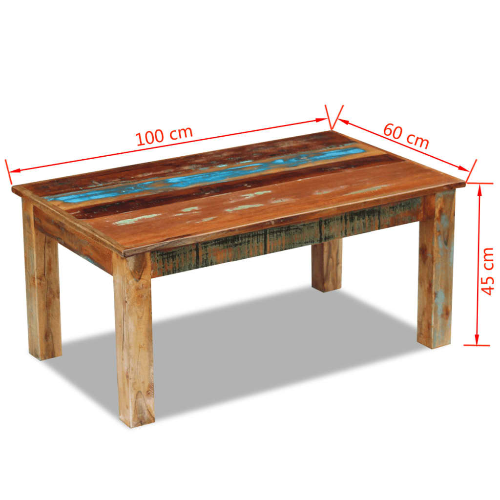 Masă de cafea, lemn reciclat de esență tare, 100x60x45 cm