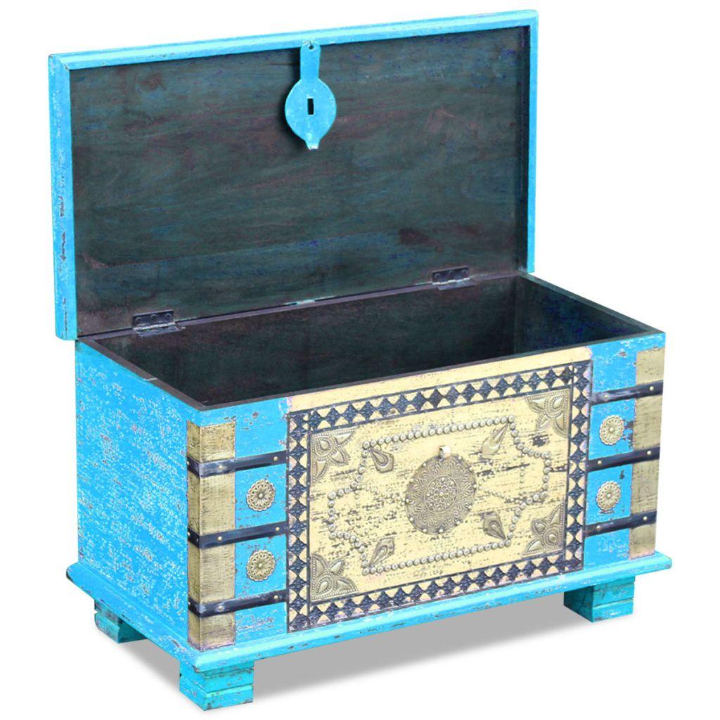 Cufăr din lemn de mango, 80x40x45 cm, albastru
