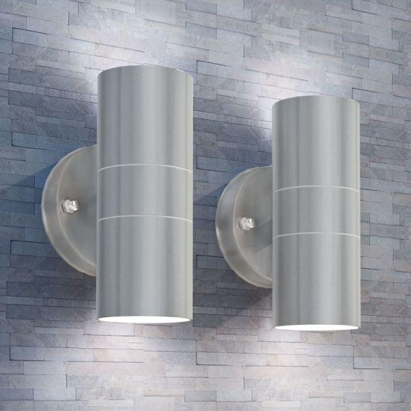vidaXL Aplică LED perete exterior 2 buc, oțel inoxidabil, sus/jos