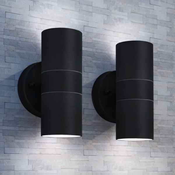 vidaXL Corp iluminat perete exterior 2 buc, oțel inoxidabil, sus/jos