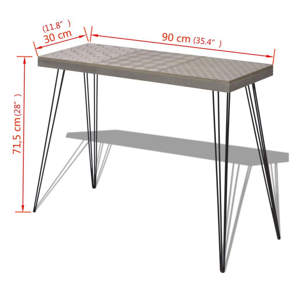 vidaXL Masă consolă, 90x30x71,5 cm, gri