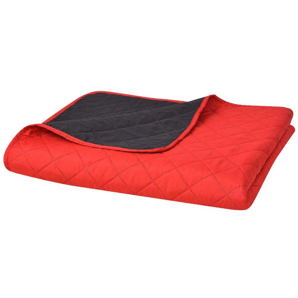 vidaXL Cuvertură matlasată cu două fețe, 230 x 260 cm, roșu și negru