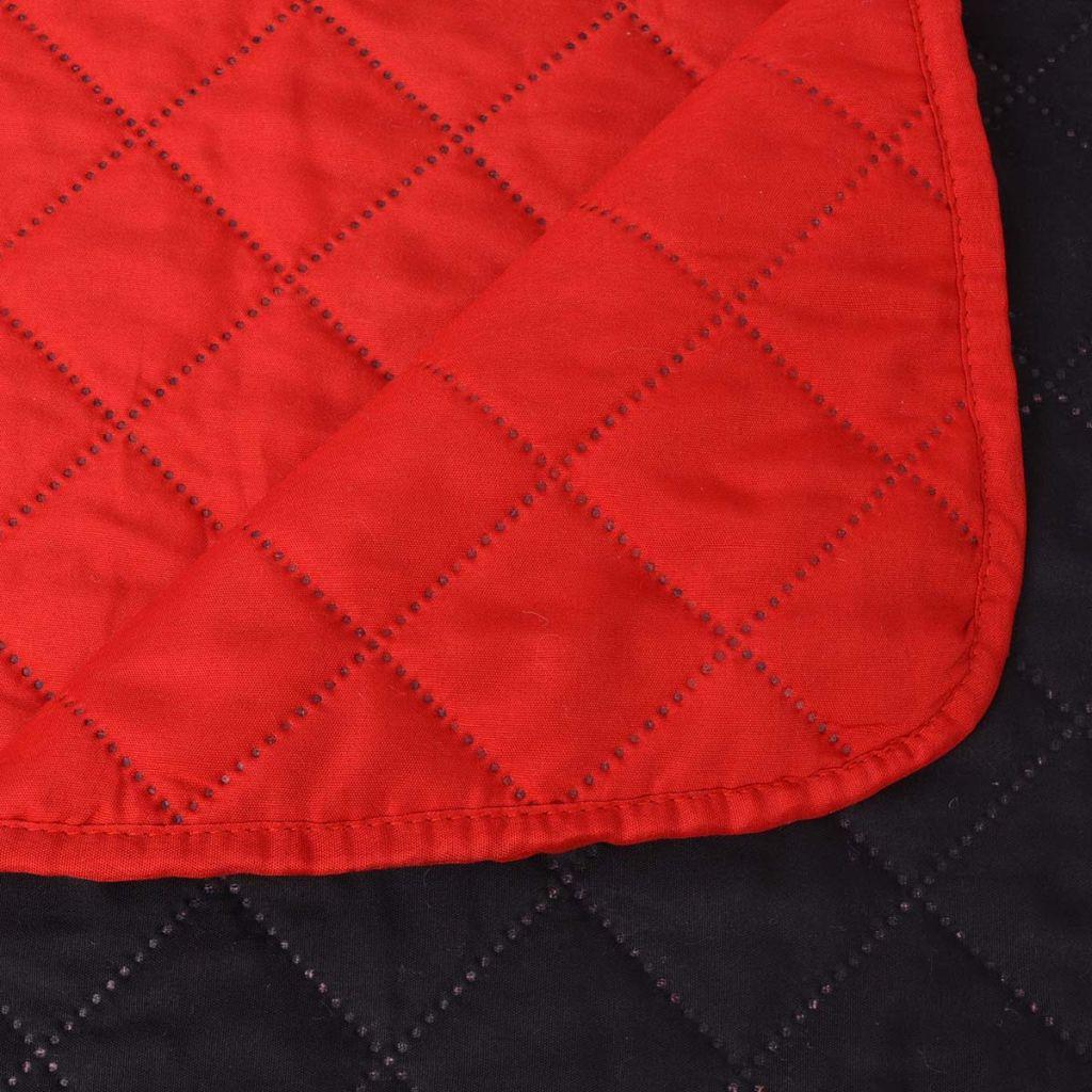 Cuvertură matlasată cu două fețe, 230 x 260 cm, roșu și negru