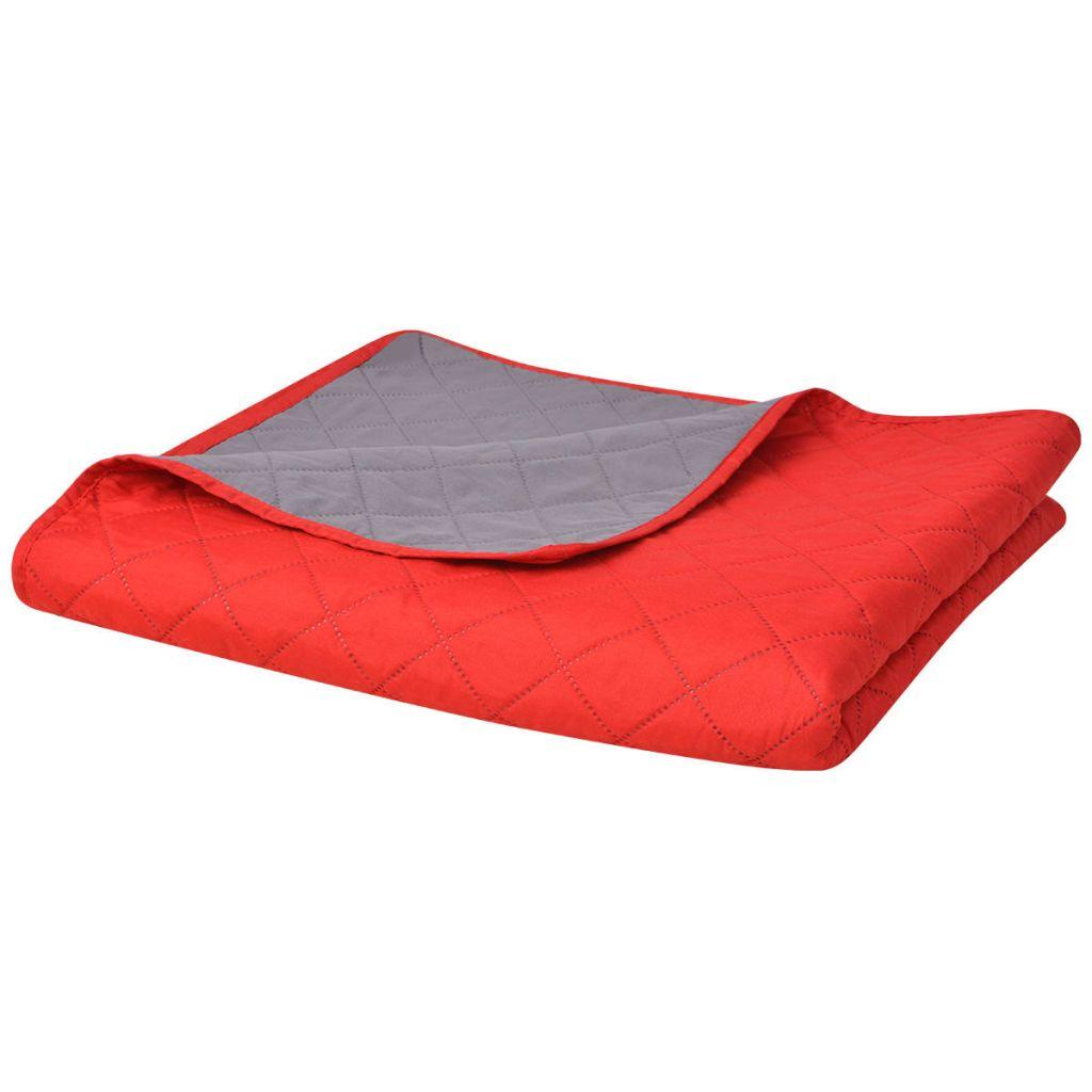 vidaXL Cuvertură matlasată cu două fețe, 220 x 240 cm, roșu și gri