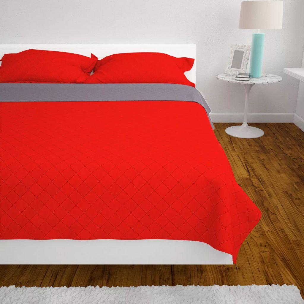 vidaXL Cuvertură matlasată cu două fețe, 230 x 260 cm, roșu și gri