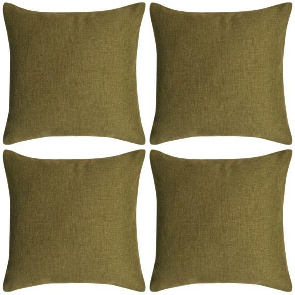 vidaXL Huse de pernă cu aspect de pânză, 40 x 40 cm, verde, 4 buc.