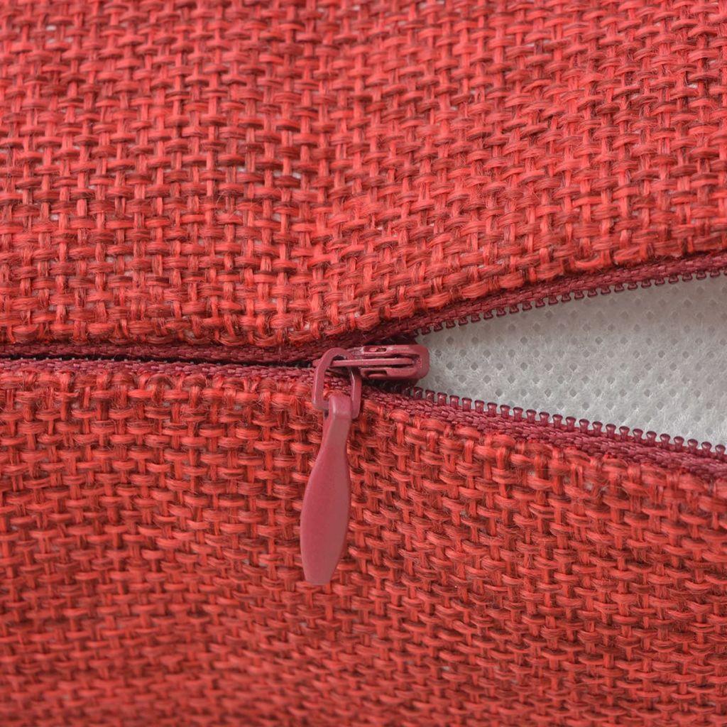 Huse de pernă cu aspect de in, 50 x 50 cm, roșu burgund, 4 buc.