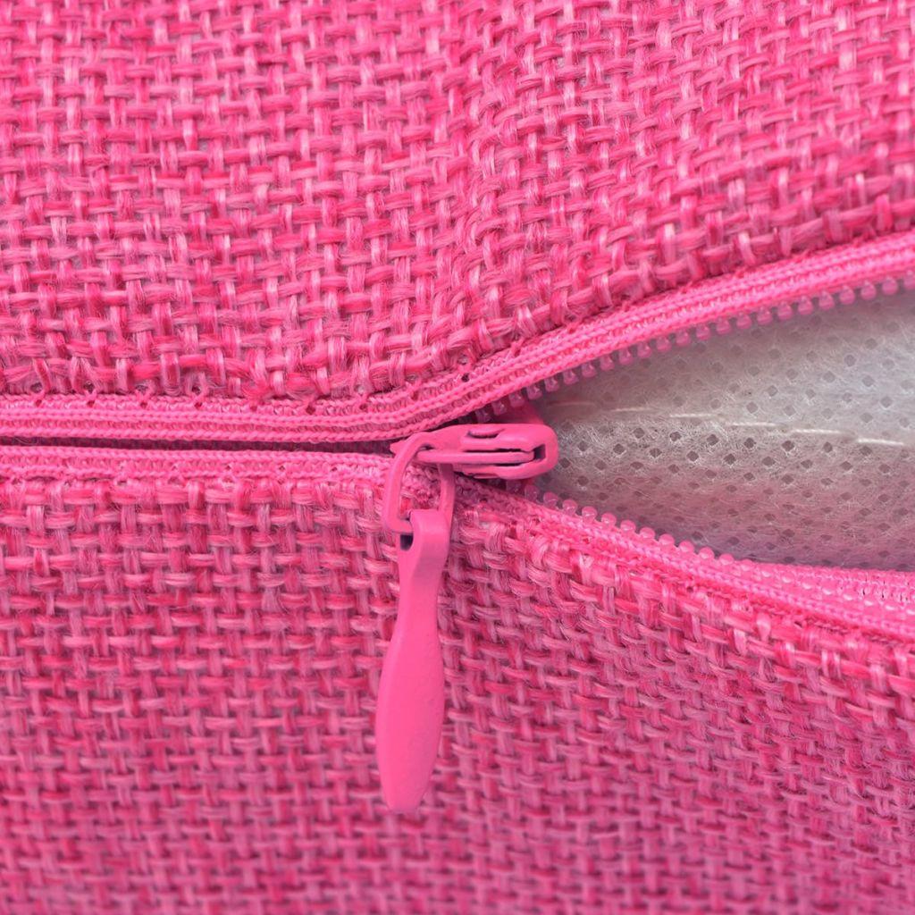 Huse de pernă cu aspect de in 50 x 50 cm, roz, 4 buc.