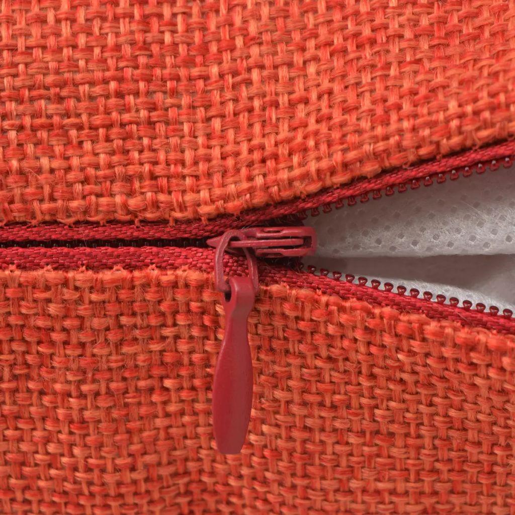 Huse de pernă cu aspect de pânză, 40 x 40 cm, teracotă, 4 buc.
