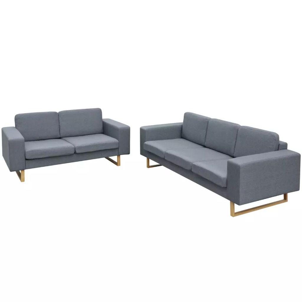 vidaXL Set Canapele pentru 2 și 3 persoane Gri deschis