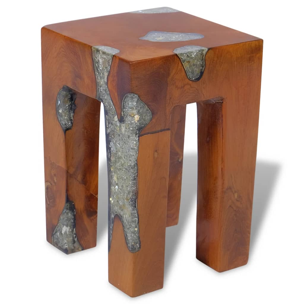 vidaXL Taburet, lemn de tec masiv și rășină