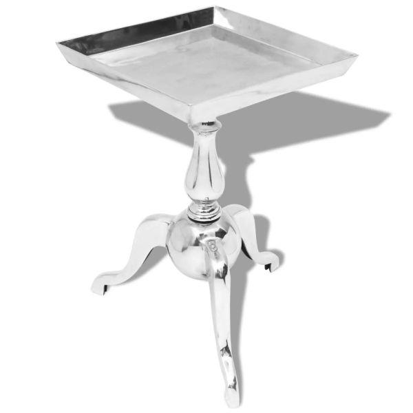 vidaXL Masă laterală pătrată din aluminiu, argintiu